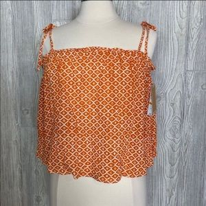 Copper Key Orange flowing crop top Size Small